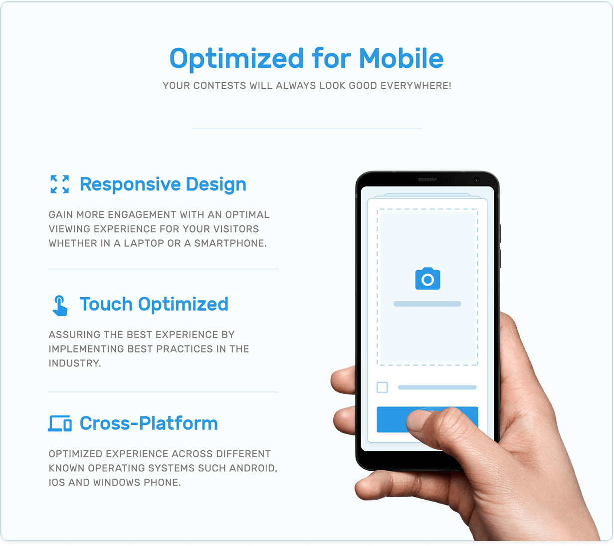 Mobile optimization, responsive design, touch optimization and cross platform support in TotalContest WordPress contest plugin.