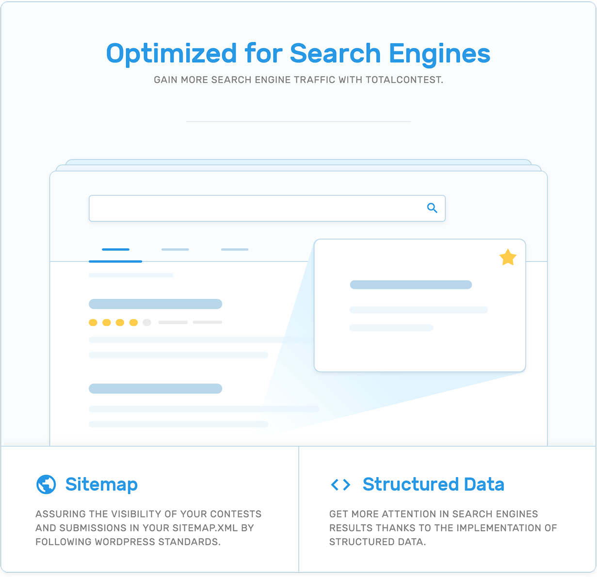 Search engines optimization (SEO), sitemap and structured data in TotalContest WordPress contest plugin.