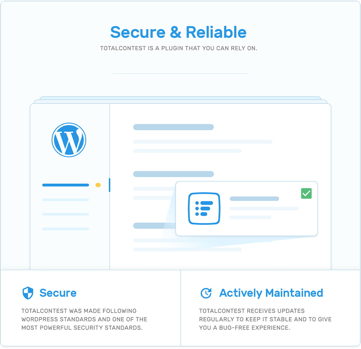 Security and actively maintenance in TotalContest WordPress contest plugin.